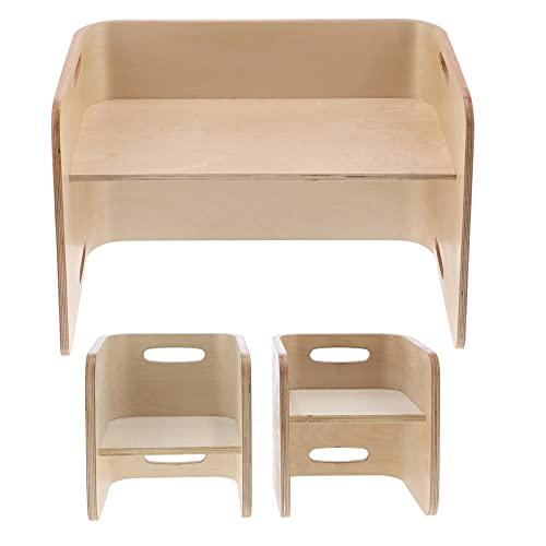 YUUGAA Juego de sillas de Escritorio, 3 en 1, Juego de taburetes de Mesa de Madera, sillas de Escritorio multifunción, Juego de Muebles para el hogar para niños