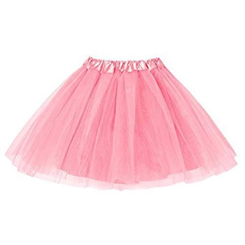 MUNDDY® - Tutu Elastico Tul 3 Capas 40 CM de Longitud para Adulta Distintas Colores Falda Disfraz Ballet (Rosa)