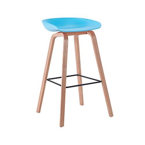 Bar chair Taburete de bar elegante taburete de bar, taburete de bar, de madera maciza, mesas y sillas altas (color: azul, tamaño: 74 cm)