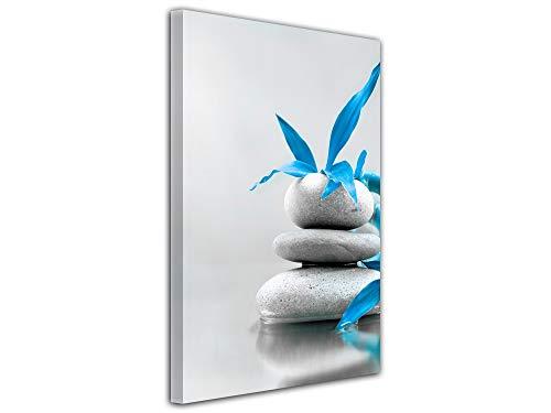 DECLINA Tableau Pierre Zen et Fleurs Bleu - Impression sur Toile décoration Murale Zen - Déco Maison, Cuisine, Salon, Chambre Adulte - Bleu 50x80 cm