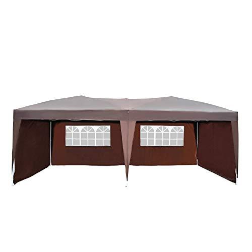 Outsunny Tonnelle Barnum Tente de réception Pliante Pop up 6 x 3 x 2,55 m + Sac de Transport Chocolat
