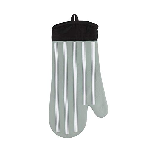Guante para el horno, guantes resistentes nueva hornada de alta temperatura, hornos microondas, guantes de silicona hogar (Color : (Olive Green), Size : 1 pair)