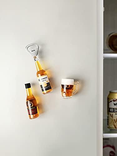 Imán de nevera para abrebotellas de cerveza, imanes de refrigerador, diseño nórdico, creativo tridimensional, imán magnético para nevera (color amarillo)