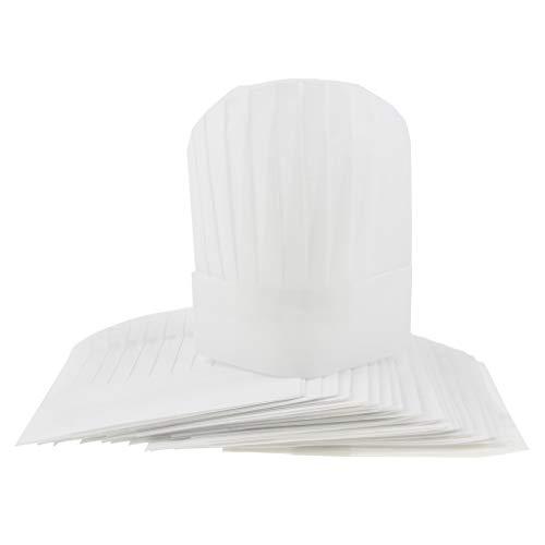 MagiDeal 20x Chapeau jetable Serre-tete de Boulanger Tabliers Baker de cuisine Blanc Rond 9 Pouces