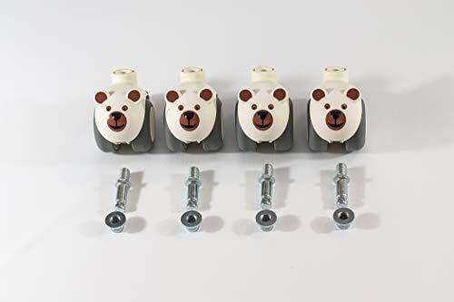 Sämann Rollen für Laufgitter 75x100, 100x100, 120x120 cm | gummierte Rollen mit Bremse (bären)