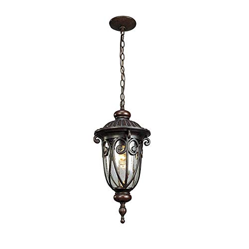 Lámpara colgante vintage E27 para salón, dormitorio, creativa, para oficina, restaurante, cafetería, bar, pasillo, balcón, patio, villa, exterior, IP33, diámetro de 23 cm