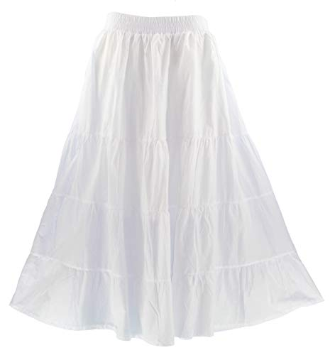 Beautybatik White Women Cotton Boho Gypsy Long Maxi Tier Flare Skirt 3X