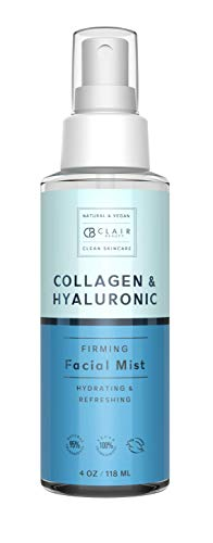 Clair Beauty Hyaluronic & Collagen Firming Facial Mist Spray - W/Retinol, Aloe & Vitamins | Hydrating & Refreshing | Locks in Moisture Restoring Skin - 118mL