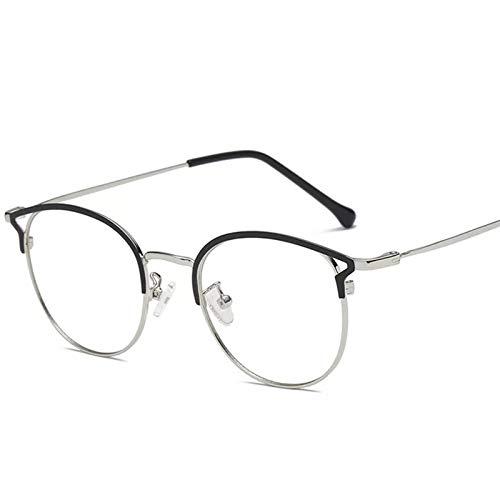 CHENGTAO Gafas De Computadora para Mujer Gato Ojo Anti Rayos Azules Anteojos Femeninos Espejo Llano Espejo Marco (Frame Color : Black Silver)