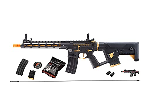 Lancer Tactical Gen 2 Airsoft Metal Rifle High FPS Enforcer Blackbird Skeleton- Electric Full/Semi-Auto Airsoft AEG Rifle with Alpha Stock 0.20g BBS Black Gold (Battery and Charger not Included)