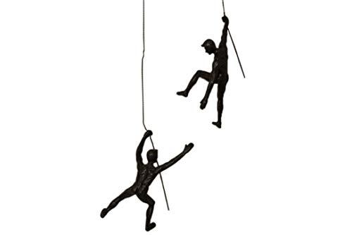 """""""There for each other"""" Duo Set mit 2 großen Klettermatten, Nagelkappen im Lieferumfang enthalten, 2 x große Kletterfiguren zum Aufhängen an Drahtseil, Wandkunst, Statue, Seil, Draht."""
