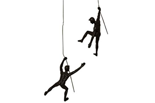 There for each other Duo Set of 2 Climbing Mates Nail-Caps Included 2x Medium Climber Figurines Hanging on Wire Rope Wall Art Statue Rope Wire Ornament