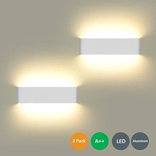 2 Pezzi Lampada da Parete 12W Bianco Caldo LED Applique da Parete con Stile Moderno,Up Down Interni Lampada a Muro per Decorazione in Alluminio, Perfetto per Soggiorno Corridoio Bagno Scale