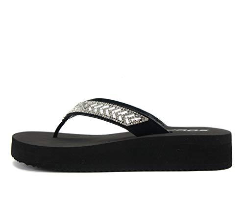 SODA LEROY ~ Women Flip Flop Sparkling Jewel Rhinestone Fashion Thong Sandals (Black, numeric_8_point_5)
