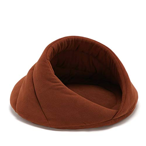 NGHSDO Pet Bed Warm Cat Bed Cave House Slippers Beds Dog Mat Kitten Mat Nest Kennel Soft Sofa Cushion Sleeping Bag Mats For Cats Dogs Supplies (Color : Camel, Size : L)