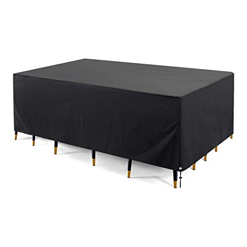 BWBG Patio Furniture Covers Rectangular 420D,180x180x90cm Furniture Covers for Outside Waterproof Garden Table Cover Anti-UV Oxford Fabric Dustproof Outside Dining Set Cover Tear Resistance-Black