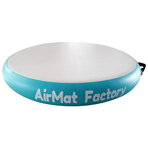 AIRMAT FACTORY Airspot Gymnastics Airtrack - Inflatable Air Track Tumbling Mat with Foot Air Pump for Gym, Home Use, Tumble Track for Train (Grey Teal, D=2.3ft & T=0.3ft(Diameter 0.7m0.1m))