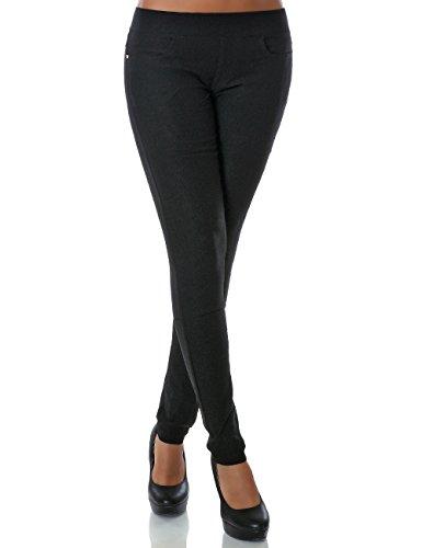Damen Skinny Treggings Stretch Hose Stoffhose DA 14028 Farbe Schwarz Größe XL / 42
