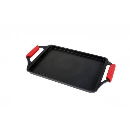 Wecook Bandeja asadora, Acero Inoxidable, Negro/Rojo, 43x25x5 cm