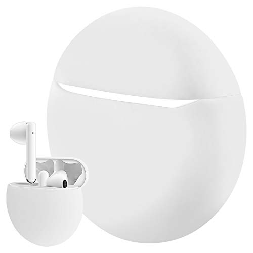 Geekria - Funda de silicona para Huawei FreeBuds 3, funda de carga, funda protectora de transporte, bolsa de viaje, compatible con Huawei FreeBuds3 2019 auriculares inalámbricos (blanco)