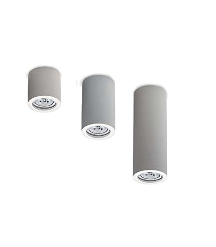 Pianeta Led - Spot encastrable de plafond, cylindre en plâtre blanc, à peindre, hauteur de 7, 13 et 19 cm VINCENZA Bianco
