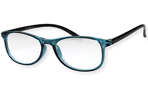 Leesbril ijsblauw glanzend met zwarte smalle beugels zeer licht mooie grote glazen die de ogen benadrukken dames leeshulp kijkhulp 1.0 1.5 2.0 2.5 3.0 model 13-611 Dioptrien 2.0 Eisblau Transparent Schwarze Glänzende Bügel