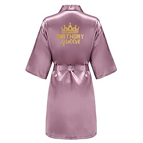 Fiesta de cumpleaños Queen Squad Batas Pijamas de satén Bata Bata Pijamas Bata Kimono Dorada-a103-XXL