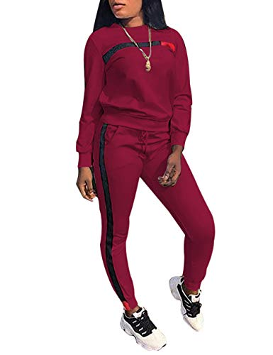 KANSOON Women Stripe Patchwork Two Piece Sweatsuit Round Neck Pullover and Skinny Long Pants Wine Red S