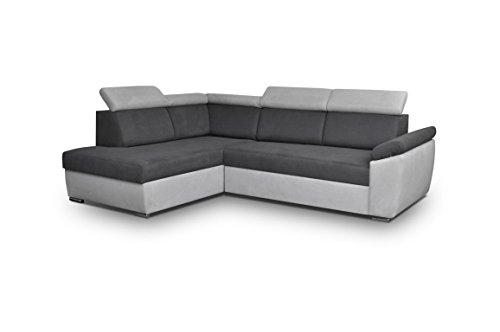 Ecksofa Sofa Eckcouch Couch mit Schlaffunktion und Bettkasten Ottomane L-Form Schlafsofa Bettsofa Polstergarnitur - MODENA (Ecksofa Links, Grau)