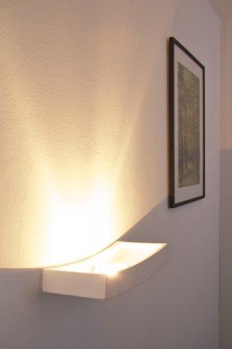 Wandlampe Bochum aus Keramik in Weiß, Wandleuchte mit schönem Lichtkegel, 1 x R7S-Fassung, max. 75 Watt, Innenwandleuchte mit handelsüblichen Farben bemalbar, geeignet für LED Leuchtmittel