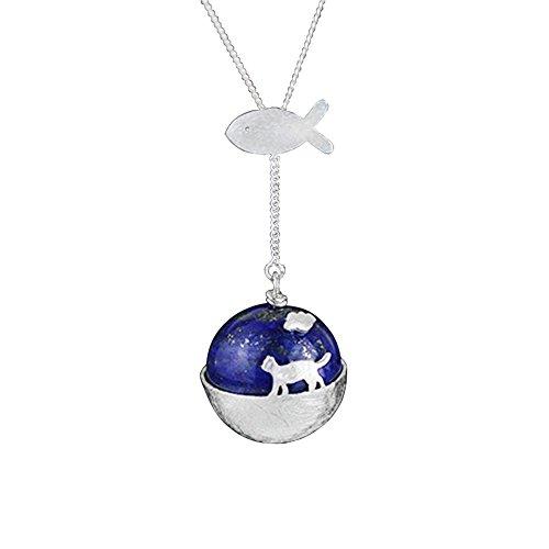 Luna Azure Pendentif en forme de chat voyageur en argent sterling 925 avec boule de lapis lazuli naturelle, 45,7 cm pour femmes et filles