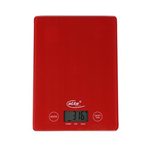 Elta KS-202 Digitale LCD Küchenwaage gehärtetes Sicherheitsglas in Rot