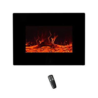 FLAME&SHADE Electrical Fireplace Heater Wall Mounted or Freestanding, with Timer, Remote and Thermostat
