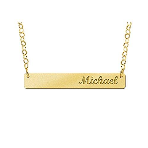 Namesforever naamketting met gravure - rechthoekige hanger met uw naam incl. ketting van goud