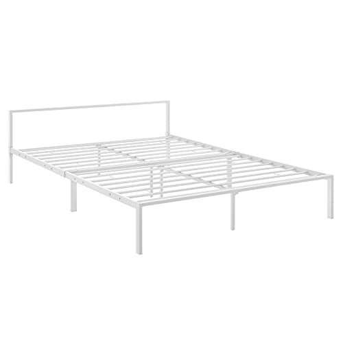 [en.casa] Metallbett 140x200 cm Minimalistisches Bettgestell Bett mit Lattenrost Stahl Weiß