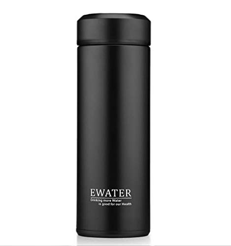 Glass Liner Vacuum Flask Stainless Steel Water Bottle Insulated Travel Coffee Thermos Mug,12oz,11oz,9oz Available (11oz, Black)