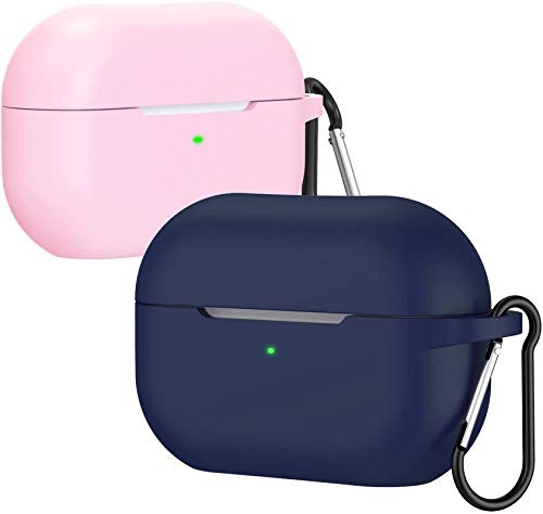 ivoler Funda para Airpods Pro con LED Frontal Visible, Anti-rasguños, Anti-Polvo, Funda Silicona con Mosquetón para Airpods Pro (2019) - Rosa y Medianoche Azul