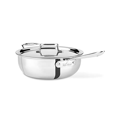 All-Clad Stainless Steel 5-Ply Dishwasher Safe 4 Qt. Essential Pan With Lid