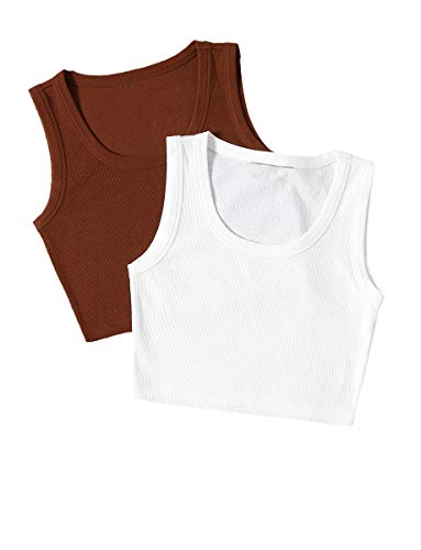 Romwe Women's 2 Pcs Sleeveless Scoop Neck Solid Basic Ribbed Tank Crop Tops Brown White S