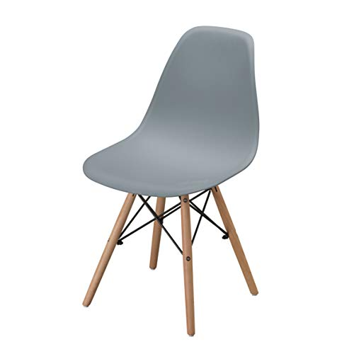 Sedia Da Pranzo o Ufficio con Gambe in Legno 54X46X82cm Grigia 1 pezzo