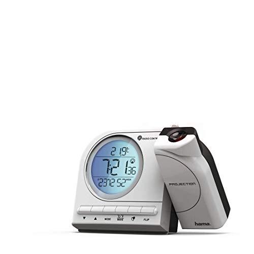 Hama Projektionswecker digital (Funkwecker mit Projektion, LED Projektions-Uhr mit Netzteil, Projektor 180 Grad drehbar) weiß