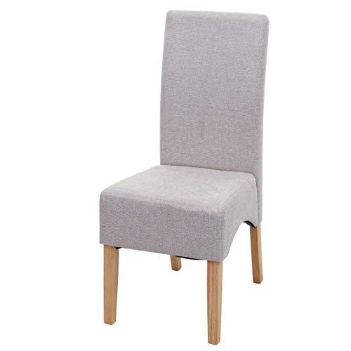 Mendler Esszimmerstuhl Latina, Küchenstuhl Stuhl, Stoff/Textil - Creme-beige, helle Beine