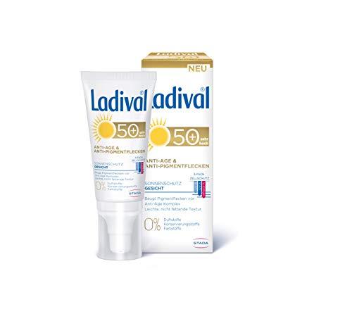 LADIVAL Anti-Age & Anti-Pigmentflecken LSF 50+, Parfümfreie Sonnencreme für Gesicht, Hals, Dekolleté und Hände, ohne Farb- und Konservierungsstoffe, 50 ml, 167514, Lichtschutzfaktor 50+