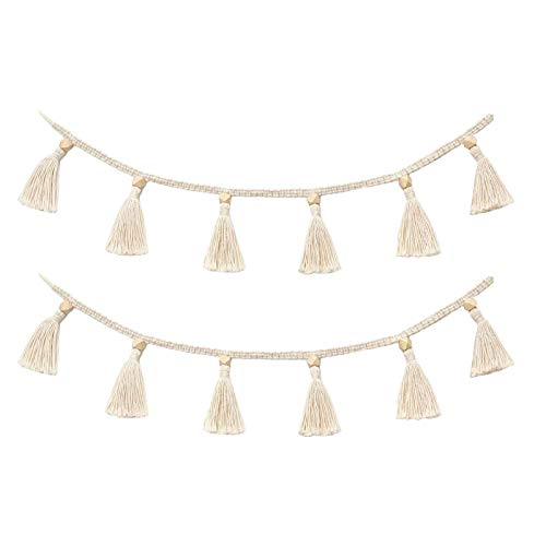 Cotton Tassel Garland Pastel Banner 2 Pack, Colorful Party Backdrop Decorative Wall Hangings Llama Decorations for Bedroom,Nursery Dorm Room,Birthday,Baby Shower, Girls Boho Home Decor Gift (Ivory)