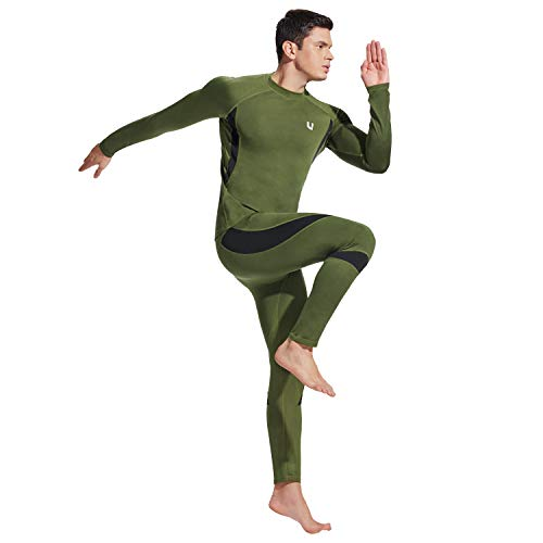 UNIQUEBELLA Men's Thermal Underwear Sets Top & Long Johns Fleece Sweat Quick Drying Thermo (Sets Army Green, M)