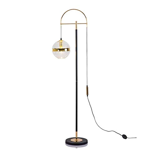 luz de lectura lateral Lámpara de pie de arco contemporánea cuelga sobre el sofá desde atrás detrás de una lámpara de salón moderna de metal ligero grande de pie con lampana de bola de cristal de arte