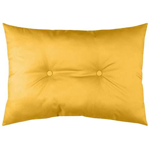 Cojín acolchado para exterior, color amarillo mostaza, 50 x 70 cm, resistente al agua, 100 % microfibra [compatible con paleta EUR]