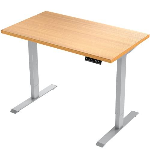E.For.U® E7 höhenverstellbarer Schreibtisch (Dualer Motor, Schwarz) höhenverstellbares Tischgestell 2 Motoren,2-Fach-Teleskop, mit Memory-Steuerung (Dualer Motor, Silber+Desk TOP)