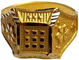 Certified Solid 22K/18K Yellow Fine Gold Square Design Kids Ring Size-1 Available In 22 Carat And 18 Carat Fine Gold For Gifts,Kids,Childrens,Baby Boy,Baby Girl,Infant,Celebrations & Regular Use