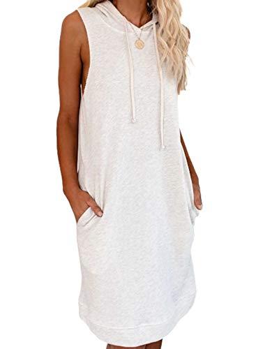 Vestido sin mangas con cuello redondo para mujer, de color sólido, con cordón y bolsillo